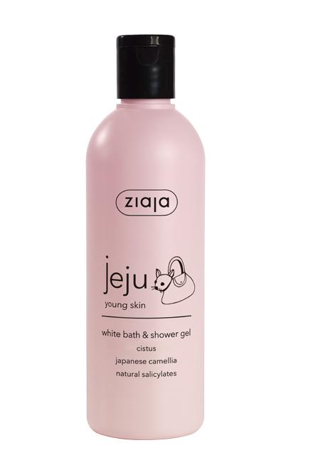 white bath & shower gel